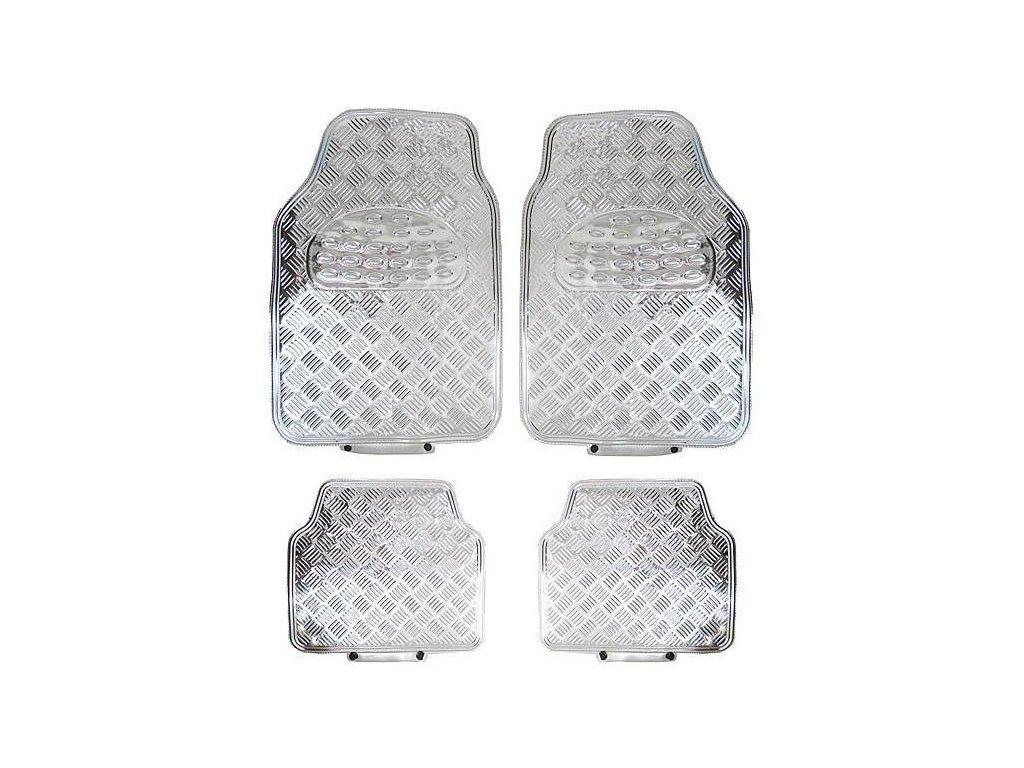 Univerzální gumové koberce hliníková imitace stříbrné - 4ks