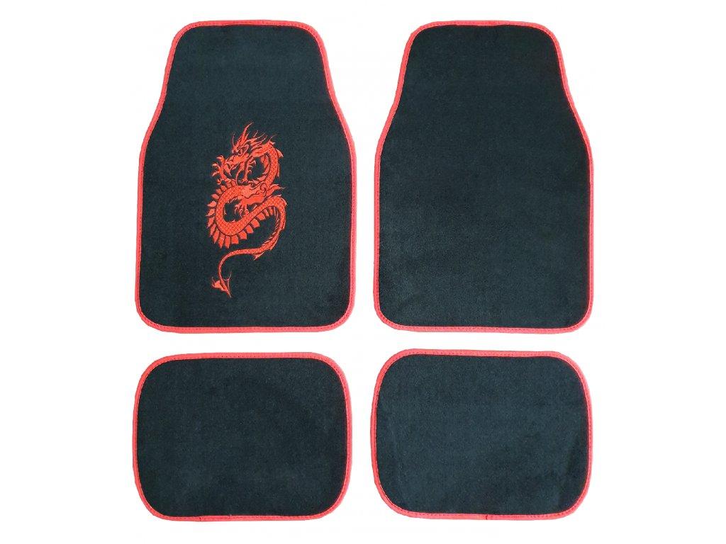 Autokoberce do auta červené s drakem uni - 4ks