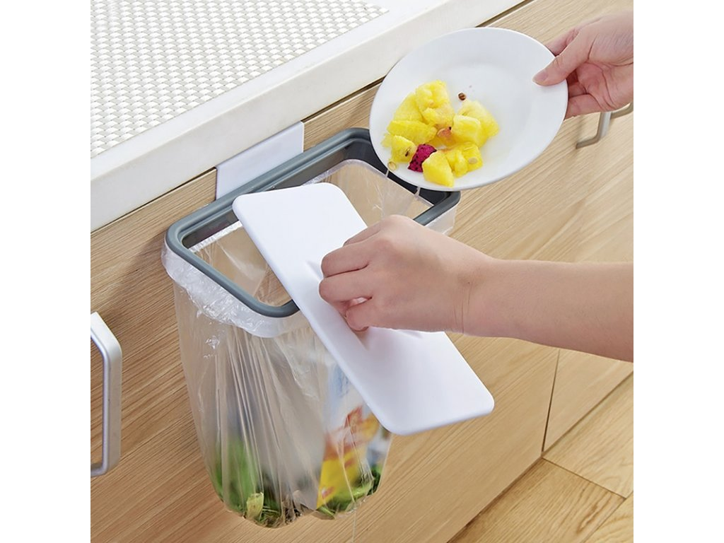 2 Kitchen Garbage Bag Storage Rack Attach Holder Cupboard Door Back Hanging Cabinet Trash Rack Food Container