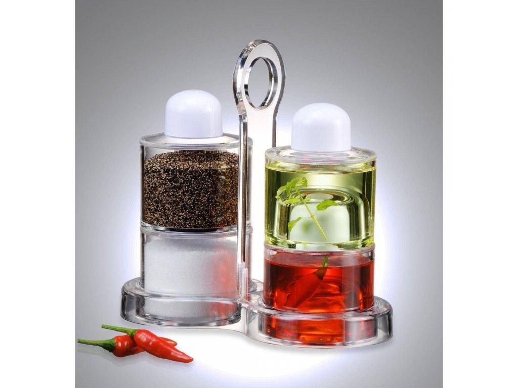 Multifunkční stojan - slánka, pepřenka, dva druhy oleje