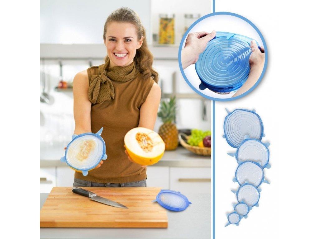 Silikonová víčka na potraviny Super Stretch - 6ks