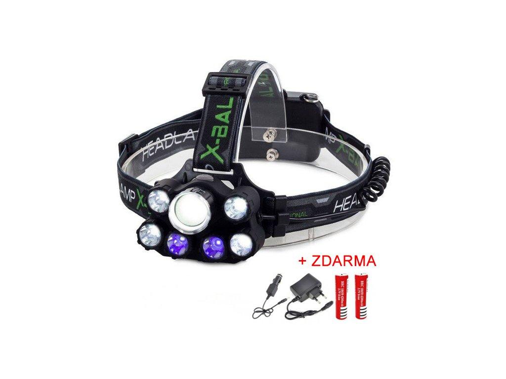 Dobíjecí čelovka 7x CREE LED s kombinací modrého světla