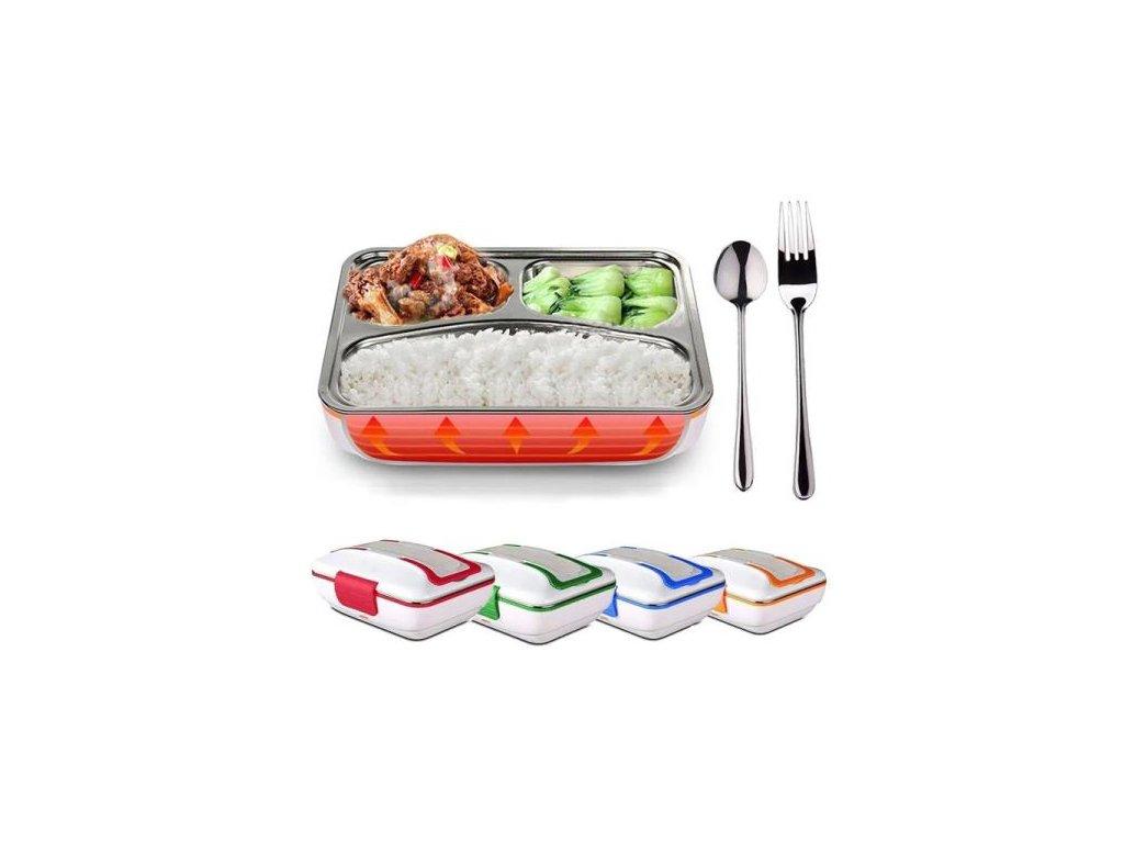 Elektrický ohřívací box na jídlo s kovovou přihrádkou a příborem