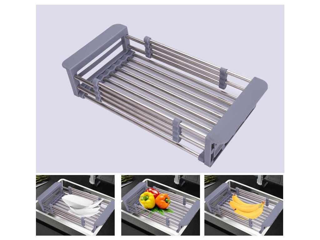 Sink lv shui jia Drain Basket Stainless Steel Kitchen Washing Vegetable Basket Pool Washing Basin lou.jpg q50