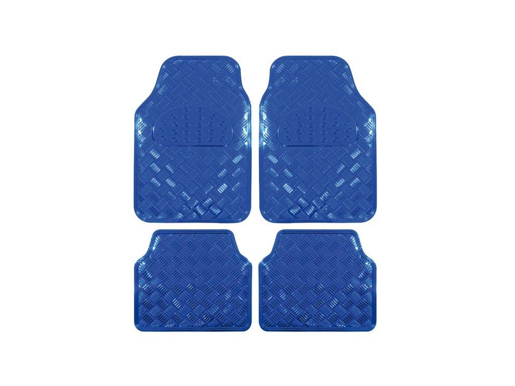 Univerzální gumové koberce hliníková imitace modré - 4ks