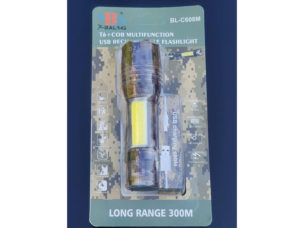 Dobíjecí hliníková ruční USB svítilna BL-C608M