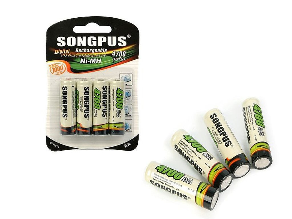 Dobíjecí tužkové baterie AA 4700mAh SongPus - 4ks