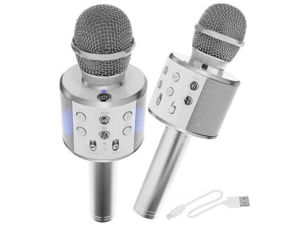 107426 karaoke bluetooth mikrofon stribrny