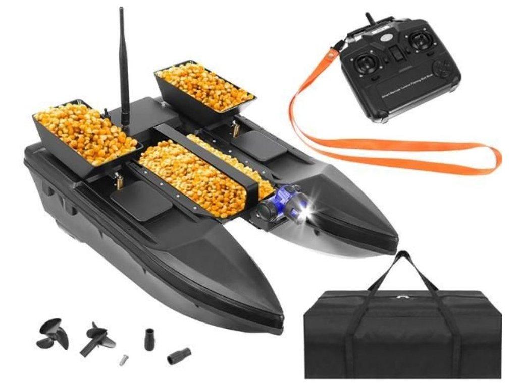 107459 zakrmovaci zavazeci rybarska lod katamaran 50 cm s nosnosti az 2000g cerna