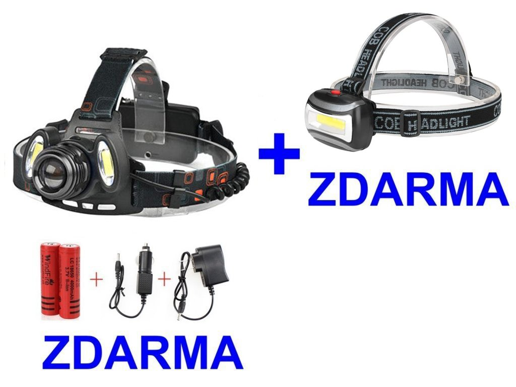 Čelovka Headlamp 1 x CREE LED + 2 x COB LED + čelovka COB ZDARMA