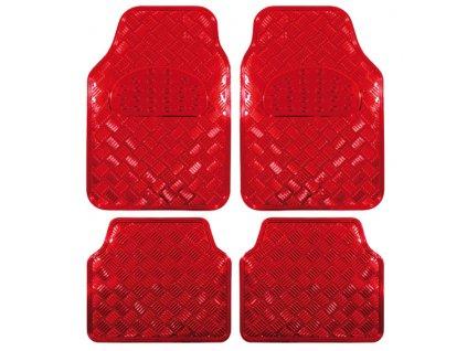 Univerzální gumové koberce hliníková imitace červené - 4ks