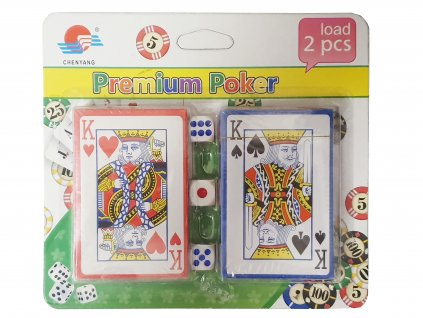 Karty dvouhlavé na poker - 2 sady + 3 kostky
