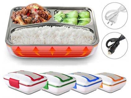 Elektrický ohřívací box na jídlo s kovovou přihrádkou a příborem (do auta i zásuvky)