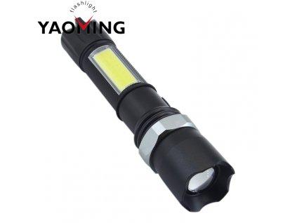 Ruční dobíjecí kovová svítilna CREE LED COB 400 ZOOM + příslušenství ZDARMA