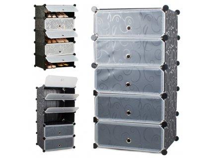 eng pl Shoe cabinet footwear modular bookcase 5 levels 2444 1