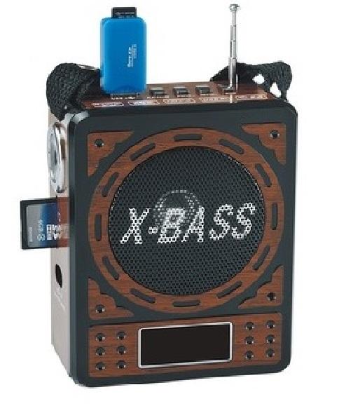 ELECTRONIC Přenosné rádio s přehrávačem MP3, USB, SD karta X-Bass brown wood