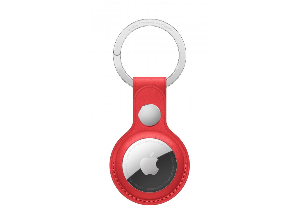 AirTag White Leather Key Ring Product Red Pure Front Screen USEN