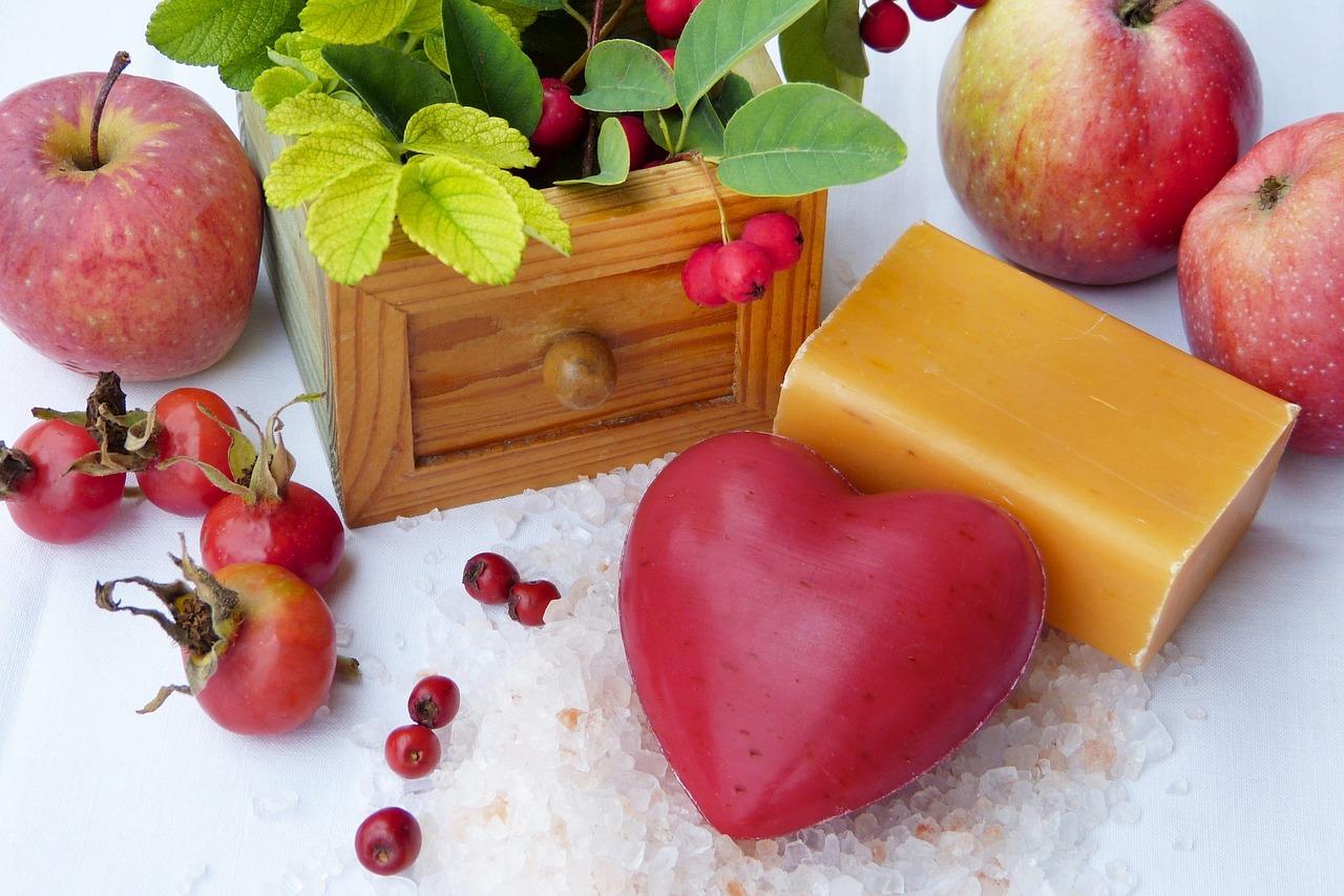 červené mýdlo srdce