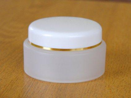 Kosmetická doza dvouplášťová 50 ml skleněný efekt, bíĺé víčko se zlatým proužkem + těsnicí vložka se zobáčkem