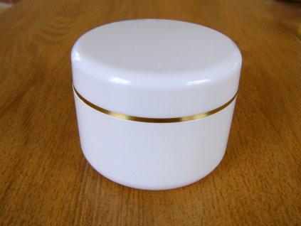 Kosmetická doza 50 ml dvouplášťová bílá, zlatý proužek