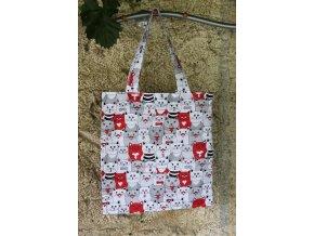 plátěná taška kočky červená