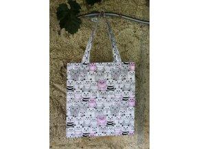 plátěná taška kočky růžová