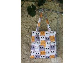 plátěná taška kočky žlutá