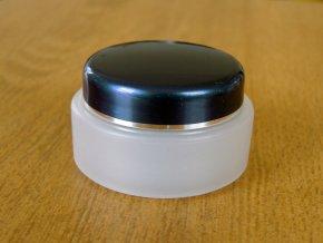 Kosmetická doza 30 ml dvouplášťová skleněný efekt modré víčko stříbrný proužek