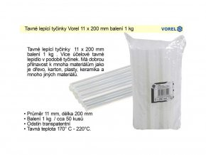 Tavné lepící tyčinky 11 x 200 mm balení 1000 g