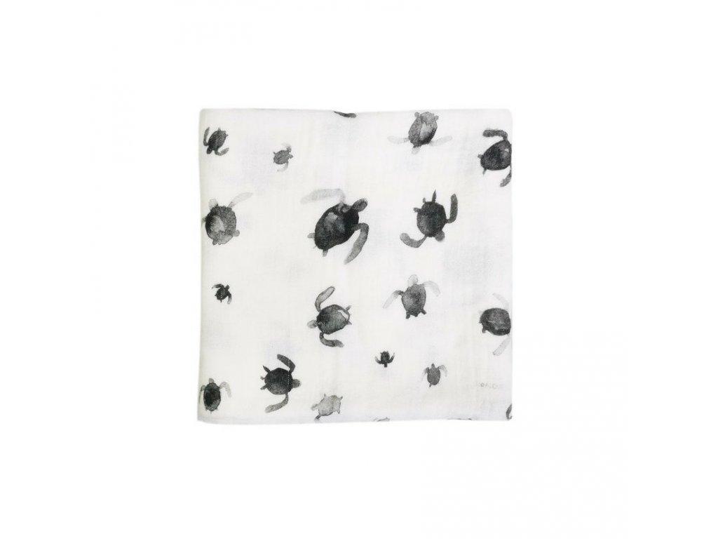 Zavinovací přikrývka z mušelínu plena 100 x 100cm Želvičky