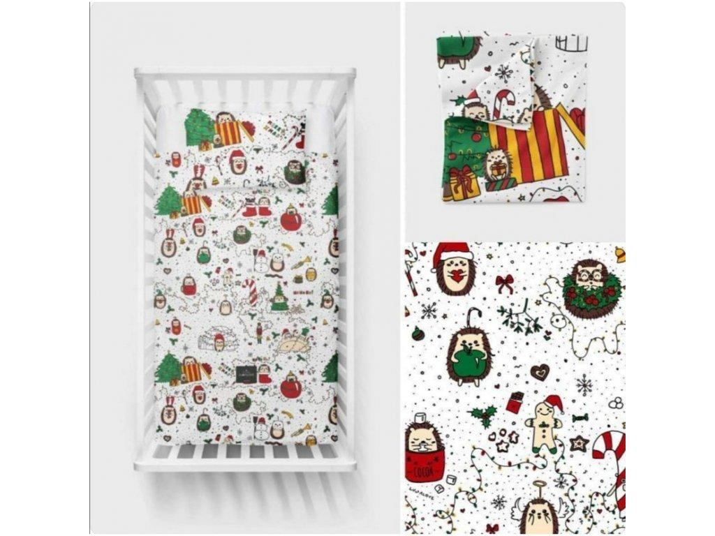 Bavlněné ložní povlečení 135x100 cm Vánoční ježek LIMITED EDITION