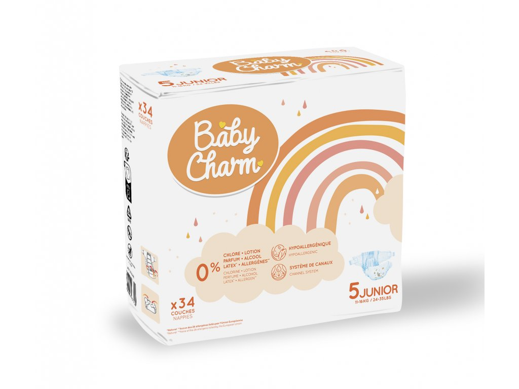 Baby Charm Super Dry Flex vel. 5 Junior, 11 - 25 kg, 34 ks