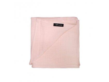 Zavinovací přikrývka z mušelínu plena 100 x 100cm Světle růžová