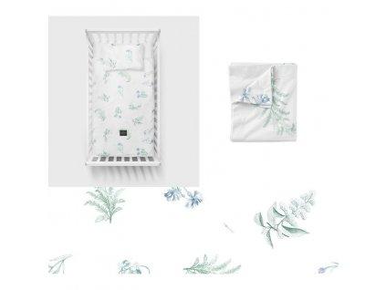 Bavlněné ložní povlečení 135x100 cm Luční kvítí modré