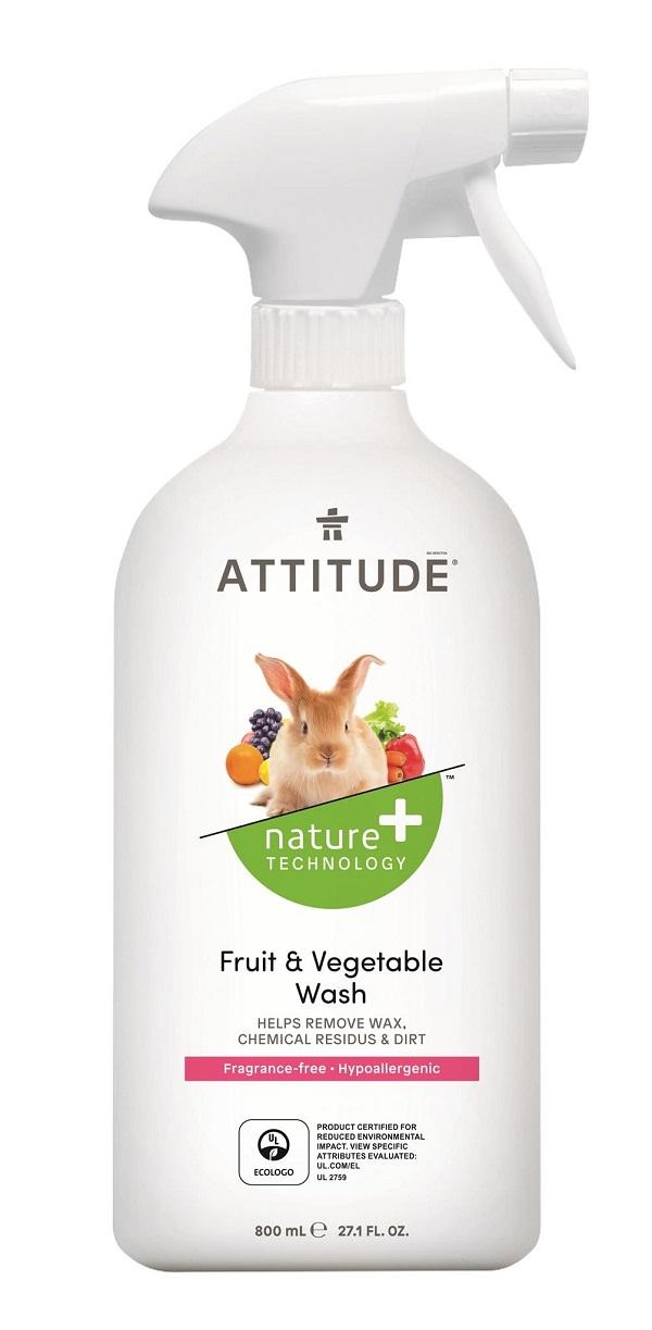 Čistící prostředek na ovoce a zeleninu ATTITUDE bez vůně s rozprašovačem 800 ml
