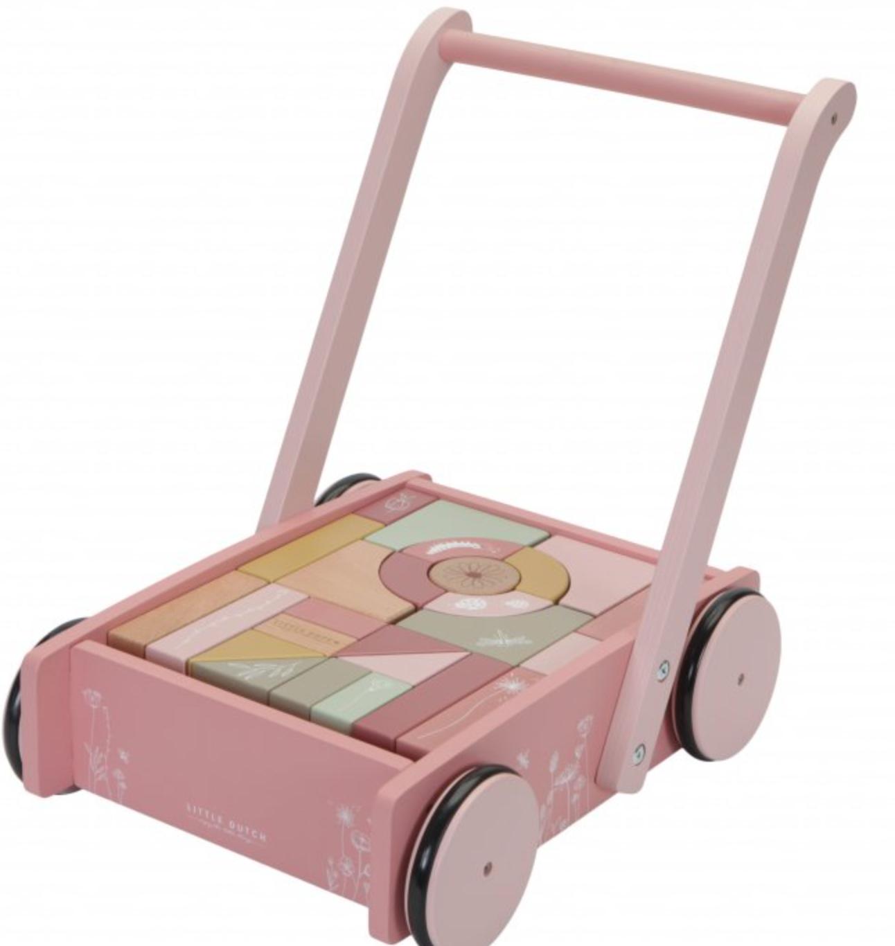Levně Little Dutch Vozíček s kostkami pink - novinka