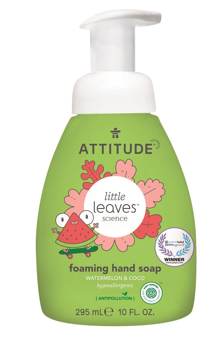 Levně Dětské pěnivé mýdlo na ruce ATTITUDE Little leaves s vůní melounu a kokosu 295 ml