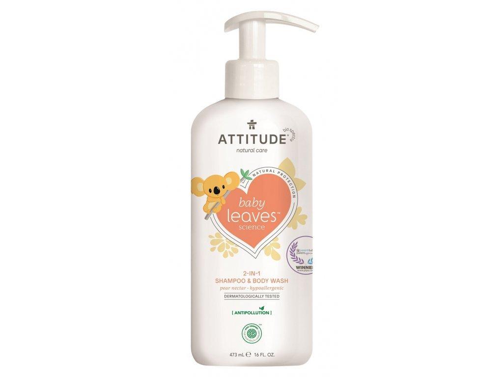 Detské telové mydlo a šampón (2v1) Baby leaves s vôňou hruškovej šťávy