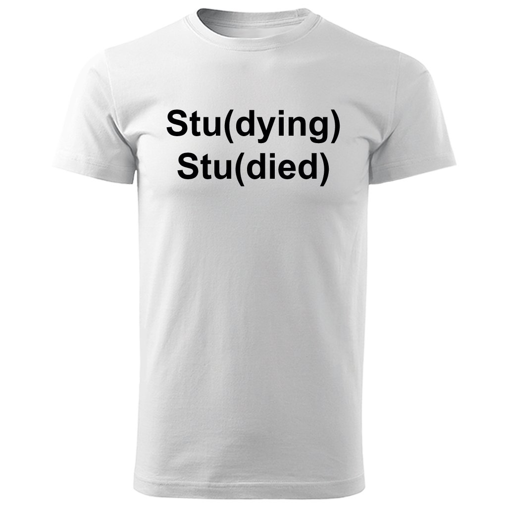 Bílé pánské tričko pro studenty - Stu(dying)