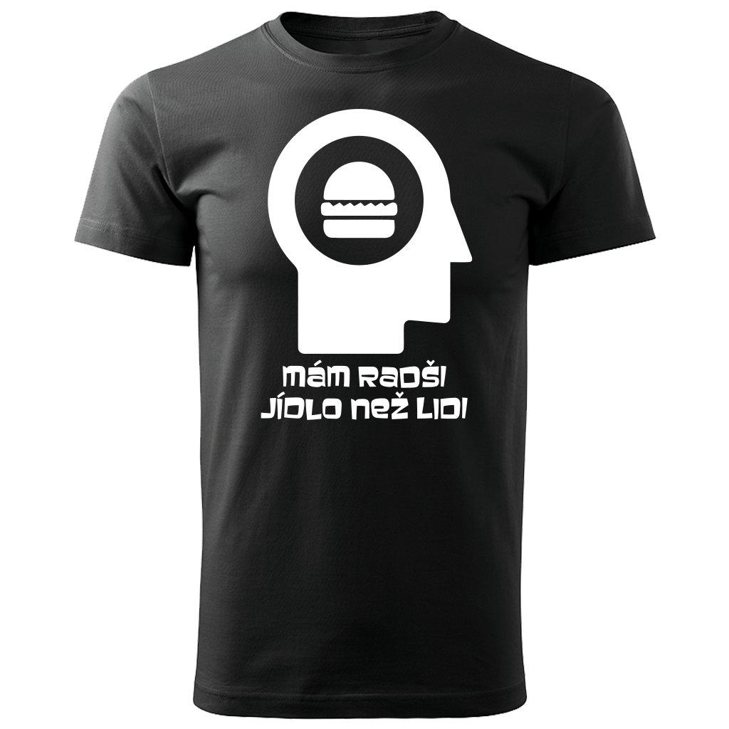 Černé Pánské tričko Mám radši jídlo než lidi