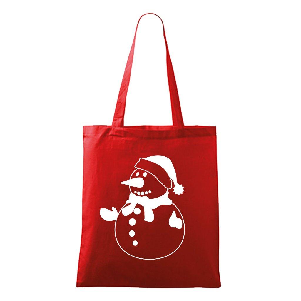 Vánoční taška se sněhulákem - červená