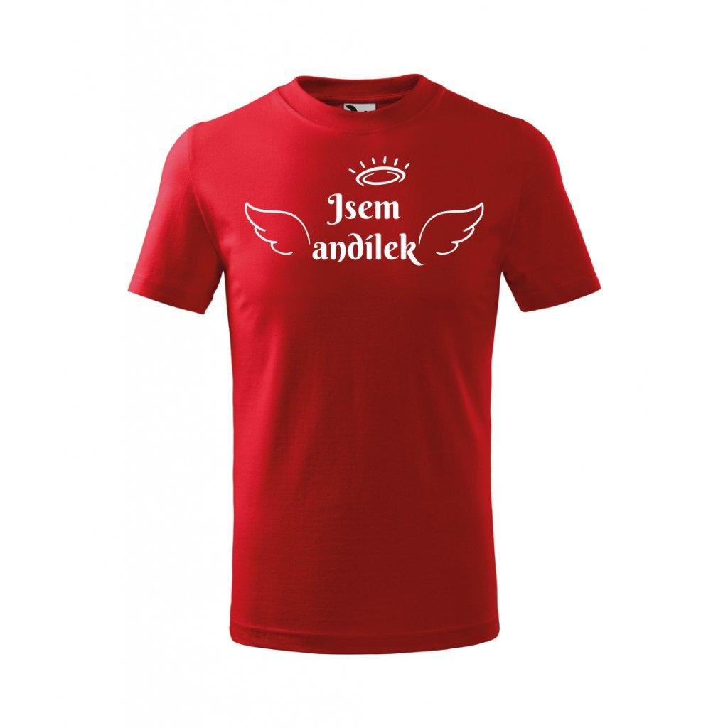 Dětské červené tričko Jsem andílek