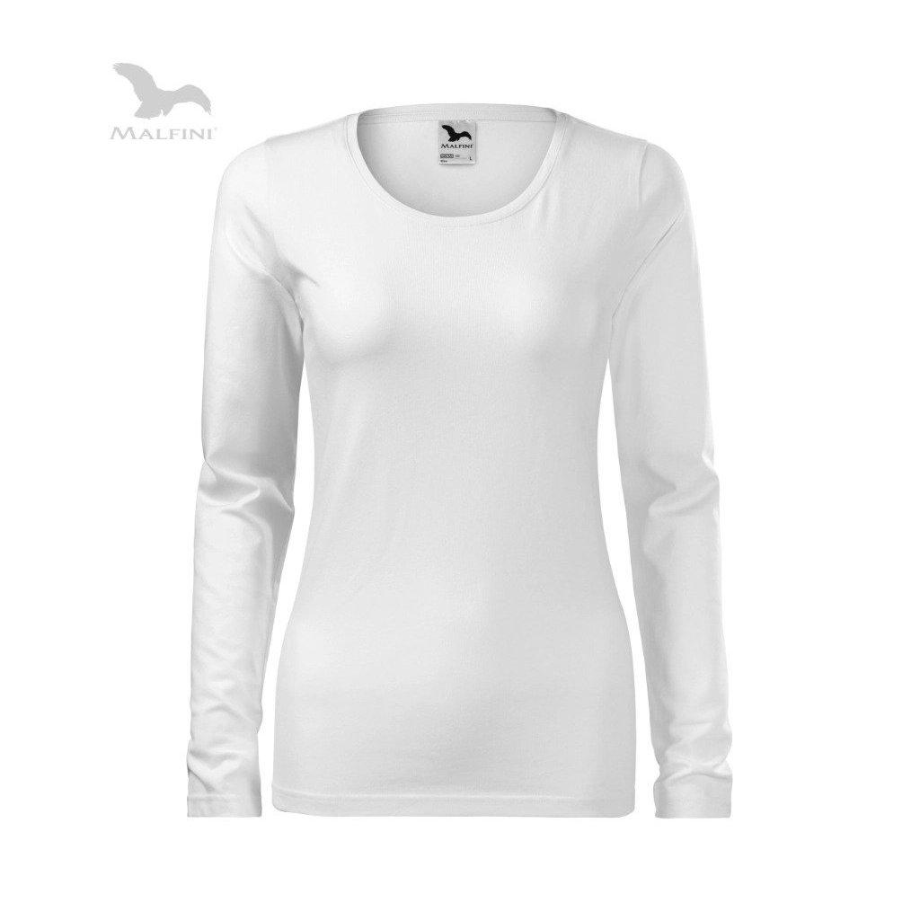Dámské tričko s dlouhým rukávem bez potisku bílé
