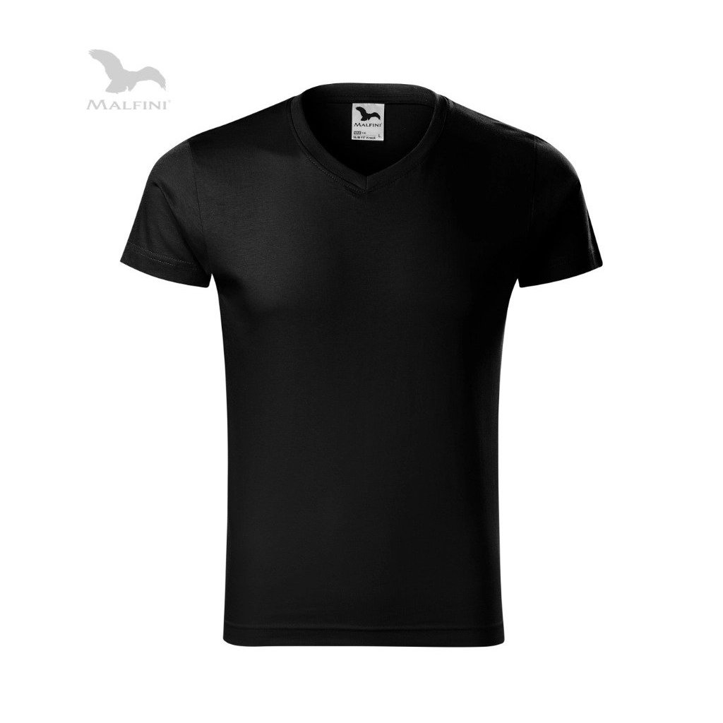 Pánské tričko s výstřihem do V bez potisku černé