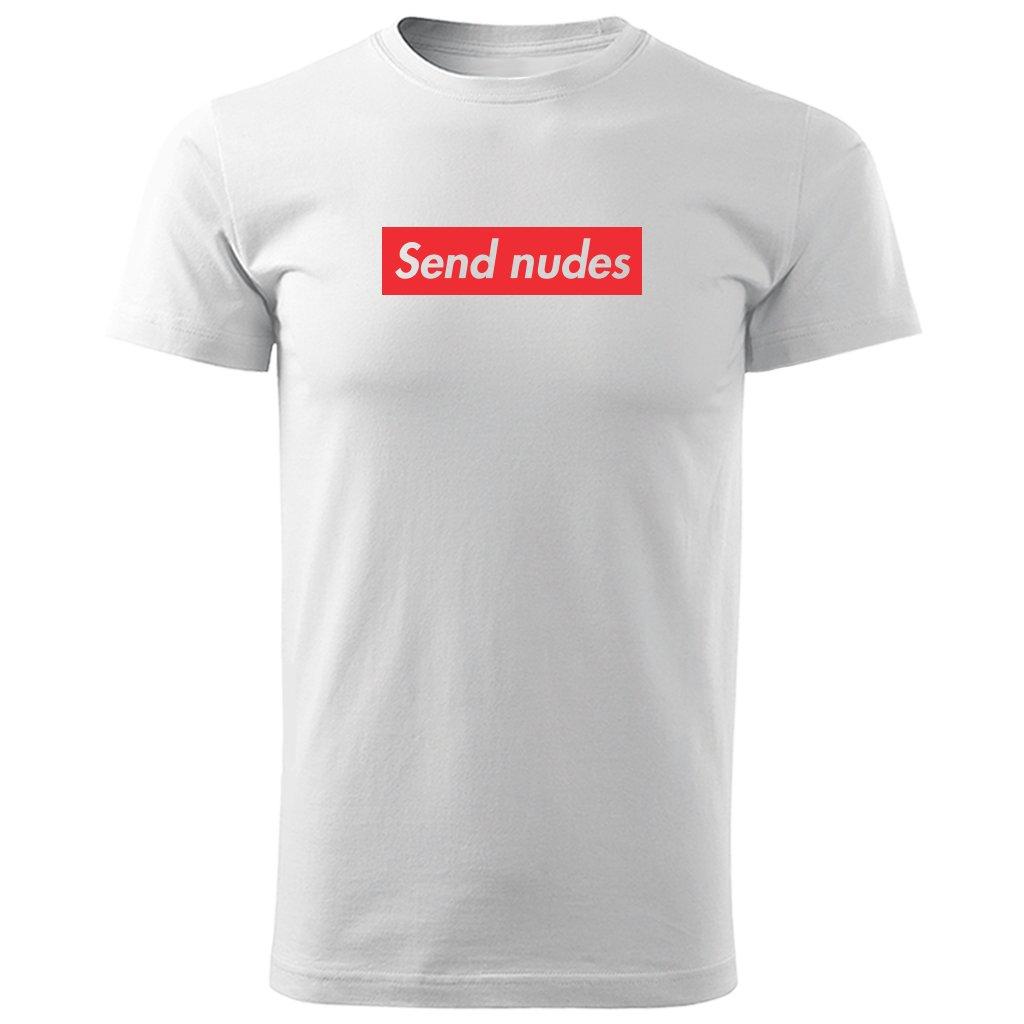 Pánské rozlučkové tričko Send nudes - bílé