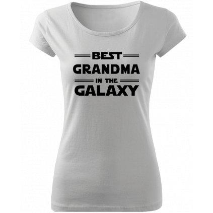 Dámské tričko best grandma in the galaxy bílé