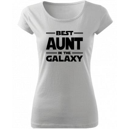 Tričko Best aunt in the galaxy bílé