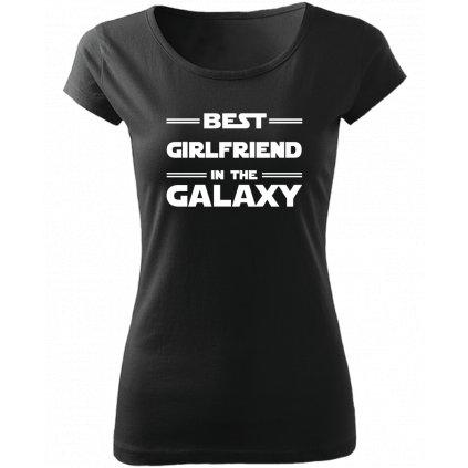 Dámské tričko best girlfriend in the galaxy černé