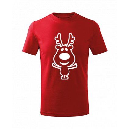 Dětské vánoční tričko se sobem červené