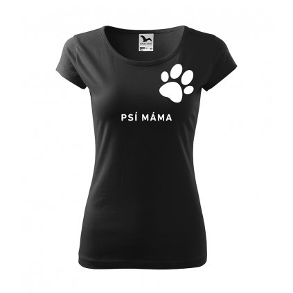 Dámské tričko Psí máma (Barva trička Bílá, Velikost trička XS)
